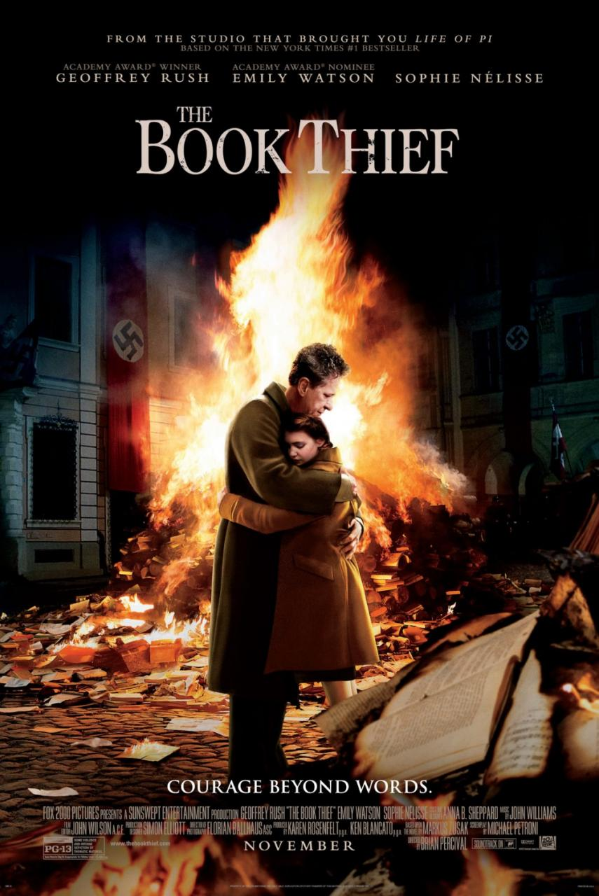 review the book thief haunting adaptation that absolutely delivers the book thief poster books burning