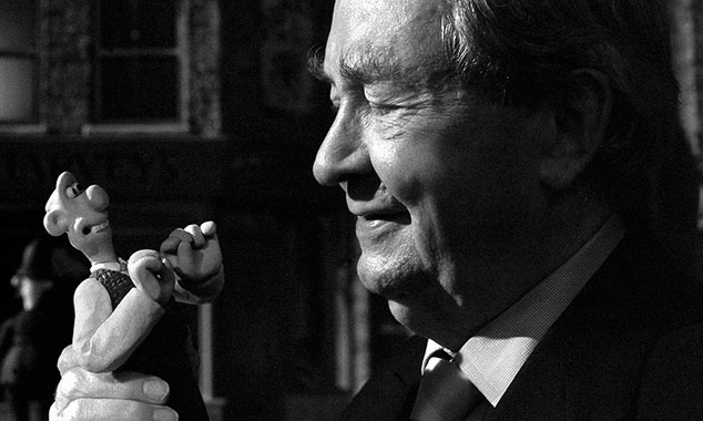 Peter Sallis with Wallace. He first voiced the character in A Grand Day Out. Photograph: Aardman Animations/PA