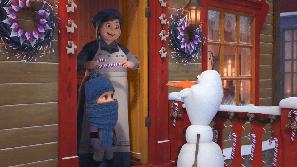 Olaf going door to door in Olaf's Frozen Adventure