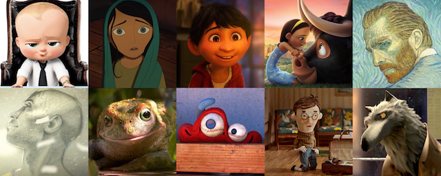 The Boss Baby, The Breadwinner, Coco, Ferdinand, Loving Vincent, Dear Basketball, Garden Party, Lou, Negative Space, Revolting Rhymes