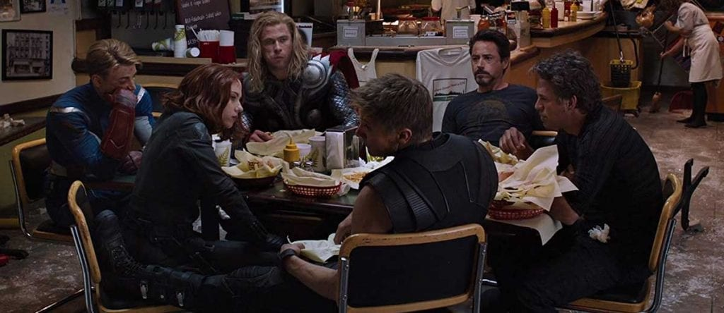 Avengers eating shwarma