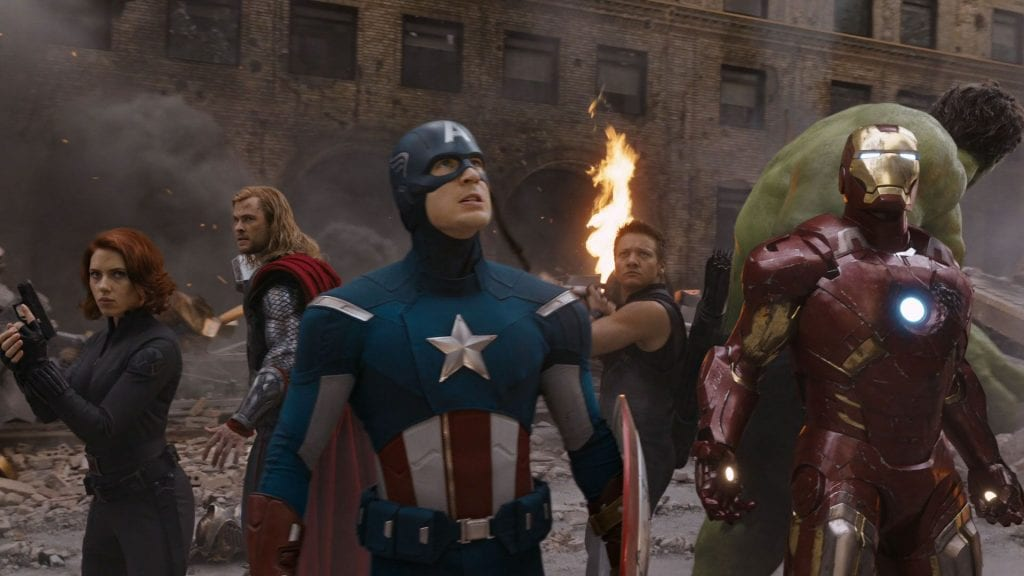 Avengers fighting in Manhattan
