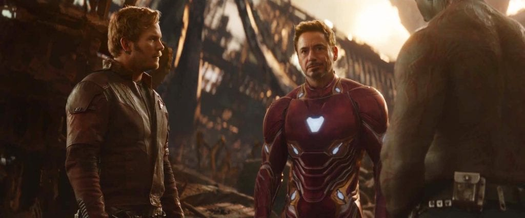Star-Lord and Iron Man have a lighter moment in Avengers: Infinity War