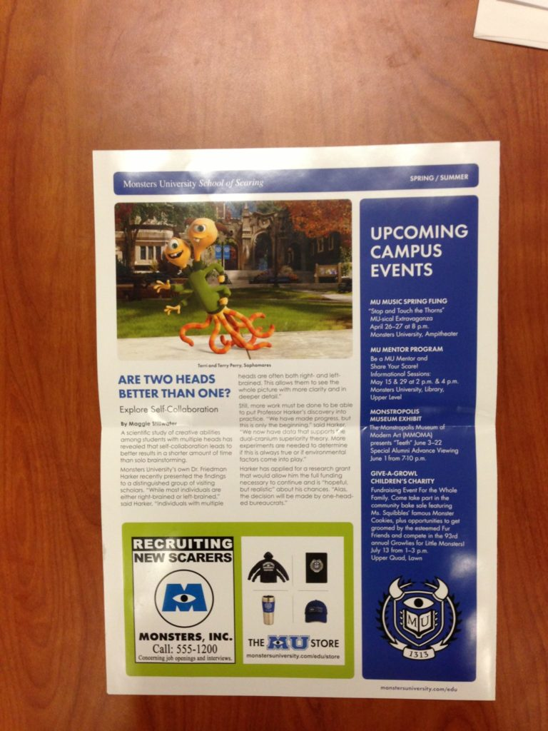 Monsters-University-Alumni-Newsletter-Spring-Summer-Press-Back