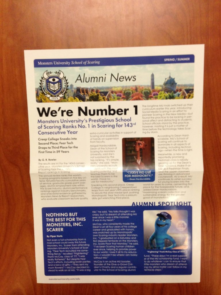 Monsters-University-Alumni-Newsletter-Spring-Summer-Press-Front