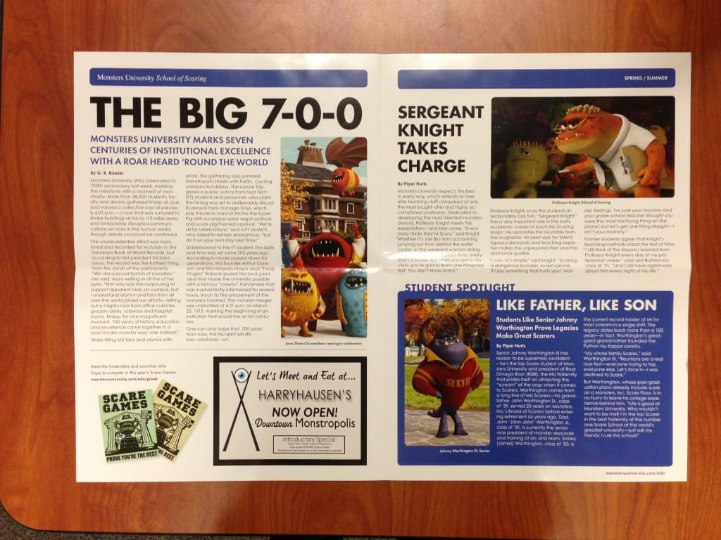 Monsters-University-Alumni-Newsletter-Spring-Summer-Press-Inside