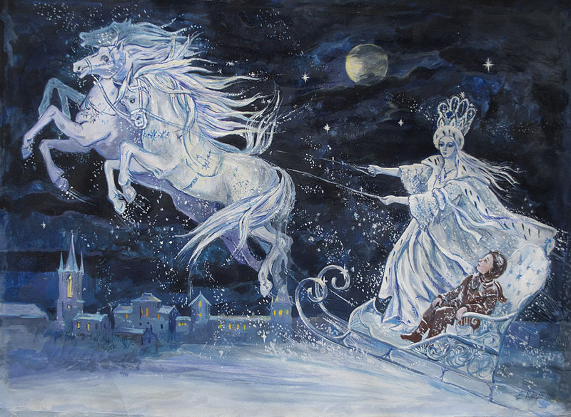 The Snow Queen flies over the town in this illustration by Elena Ringo