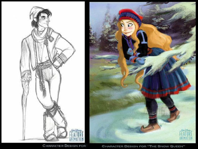 Early concept art for Kristoff and Anna (Copyright Disney Enterprises Inc.)
