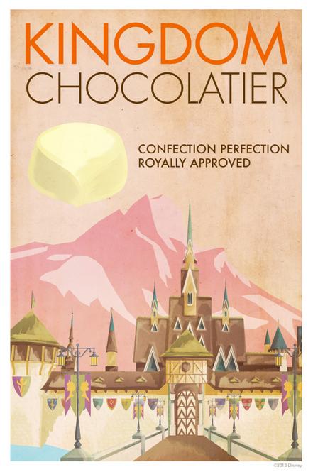 kingdom chocolatier frozen vintage travel poster