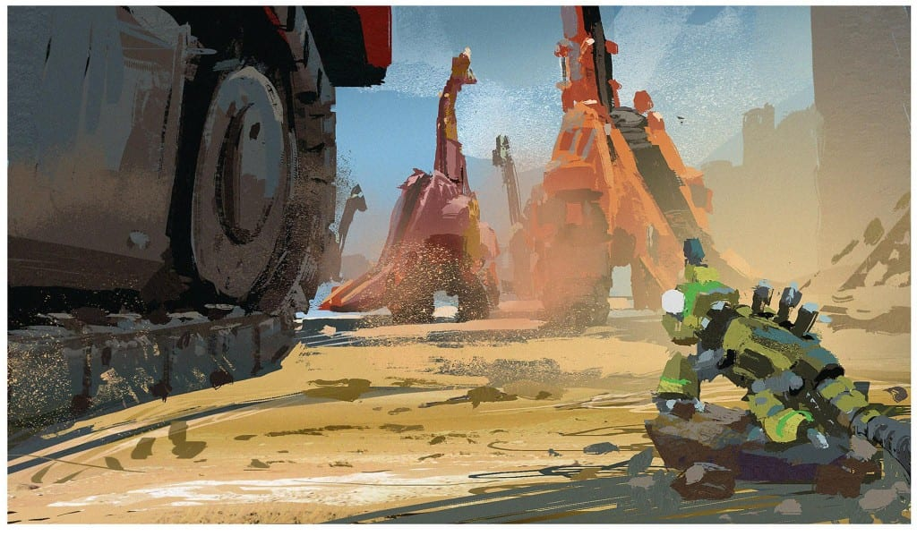 Concept art: Revvit the Reptool and the Dinotrux. (c) DreamWorks Animation