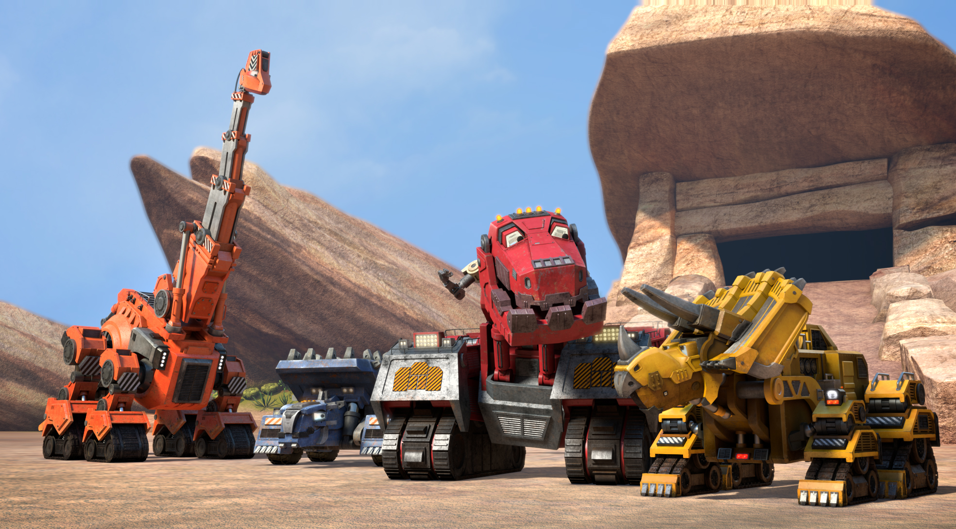 Some of the Dinotrux team: Skya, Ton-Ton, Ty Rux, and Dozer. (c) DreamWorks Animation