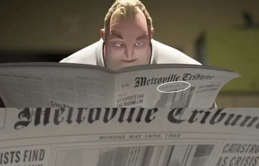 Bob Parr reading the newspaper in The Incredibles