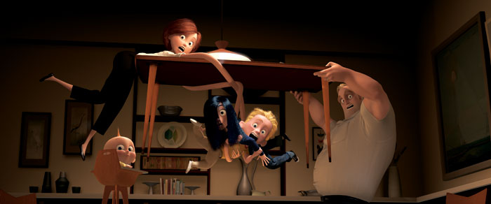 The Parr family having dinner in The Incredibles