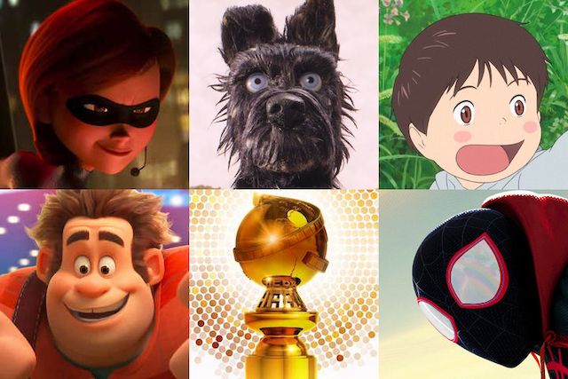 The animation nominees at the 76th Golden Globes: 'Incredibles 2', 'Isle of Dogs', 'Mirai', 'Ralph Breaks the Internet', and 'Spider-Man: Into the Spider-Verse'.