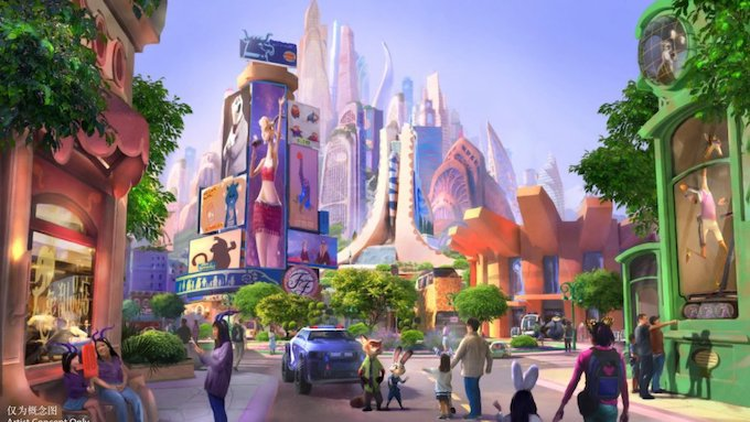 Artist impression of Shanghai Disneyland's 'Zootopia' land.