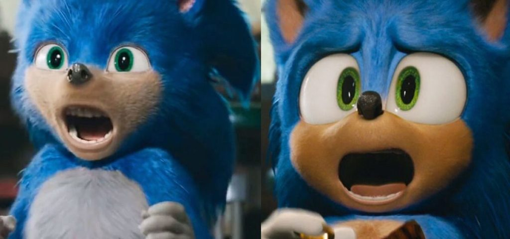 Sonic's old design (left) compared to his new one (right).