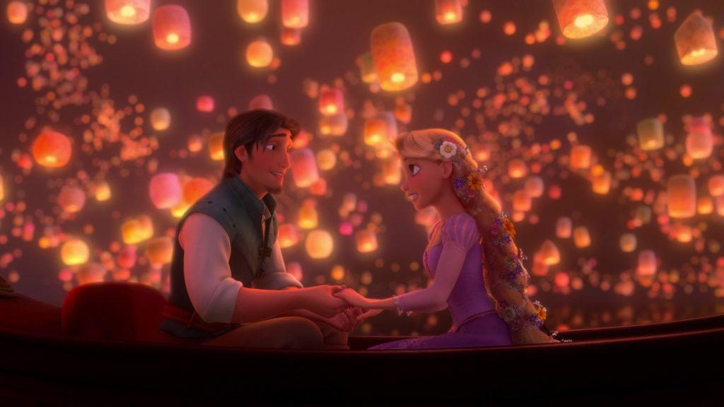 Rapunzel and Eugene singing.