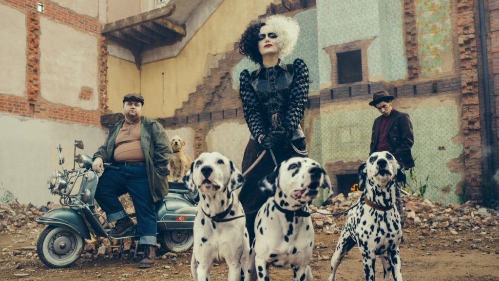 Cruella De Vil, with her Dalmatian pets, Jasper, and Horace
